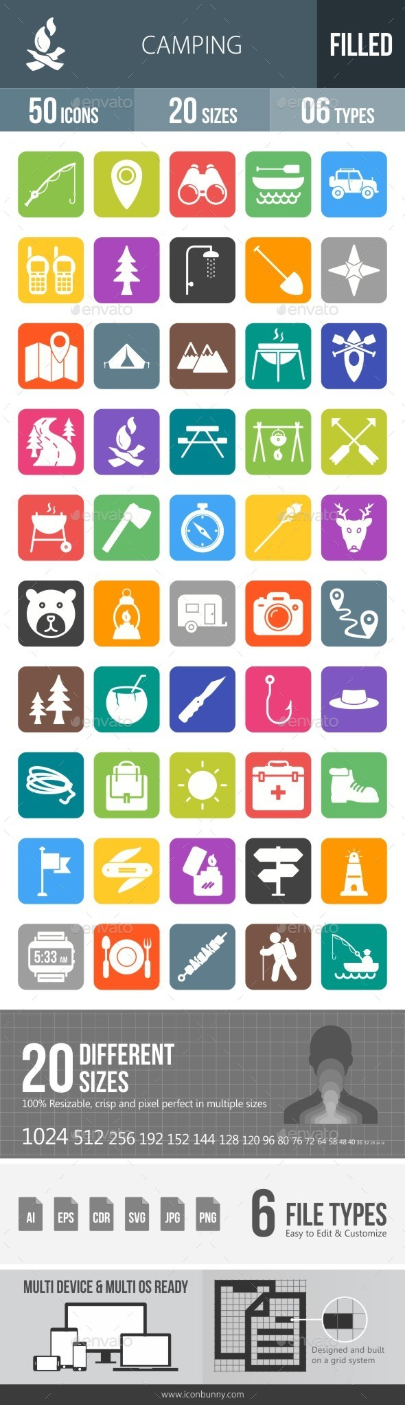 Camping Flat Round Corner Icons - Icons