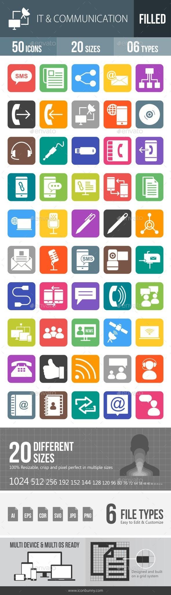 IT & Communication Flat Round Corner Icons - Icons