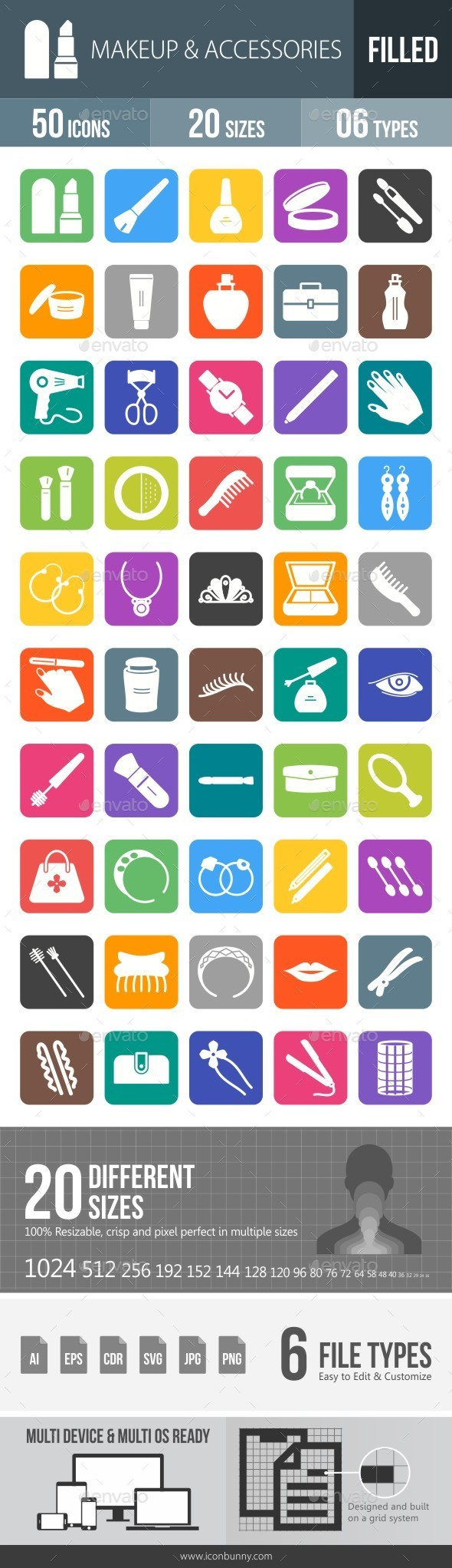 Makeup & Accessories Flat Round Corner Icons - Icons