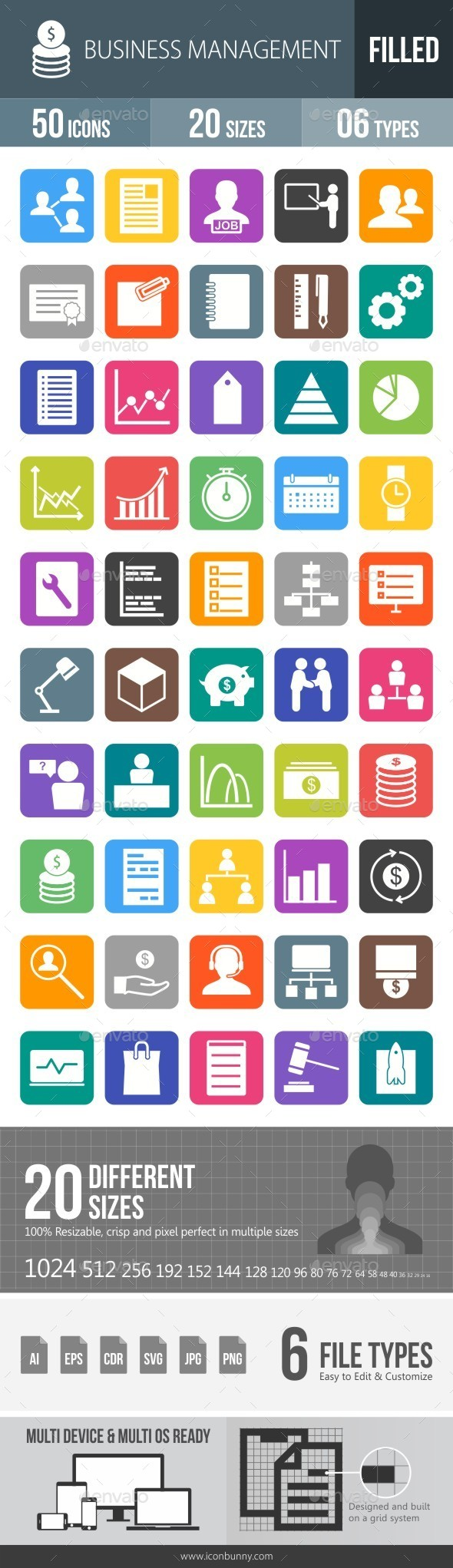 Business Management Flat Round Corner Icons - Icons