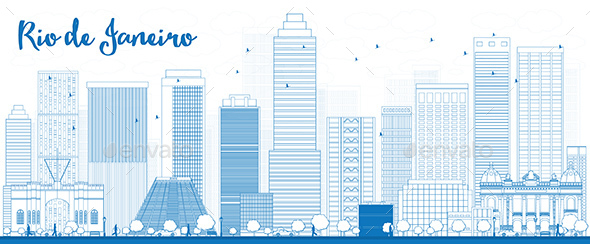 Outline Rio De Janeiro Skyline with Blue Buildings - Buildings Objects