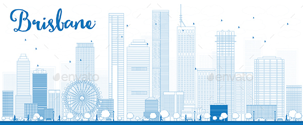 Outline Brisbane Skyline with Blue Building - Buildings Objects