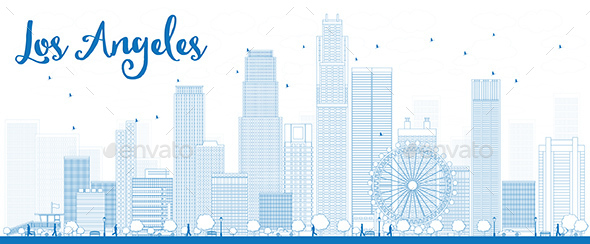 Outline Los Angeles Skyline with Blue Buildings - Buildings Objects