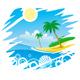 Tropical Coastline Emblem - GraphicRiver Item for Sale