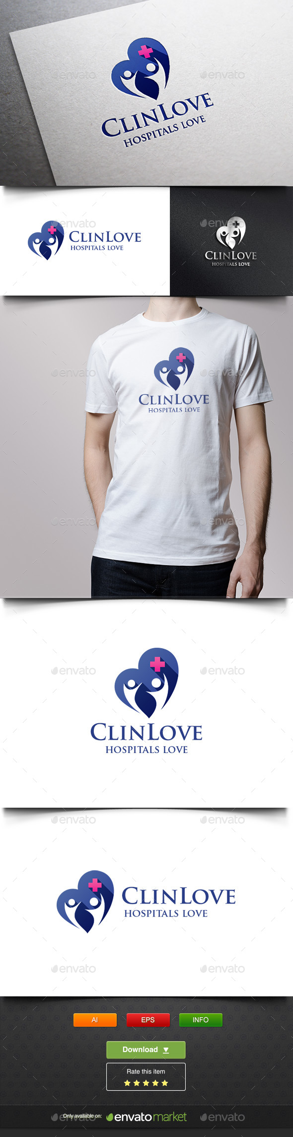 Hospital Love - Humans Logo Templates