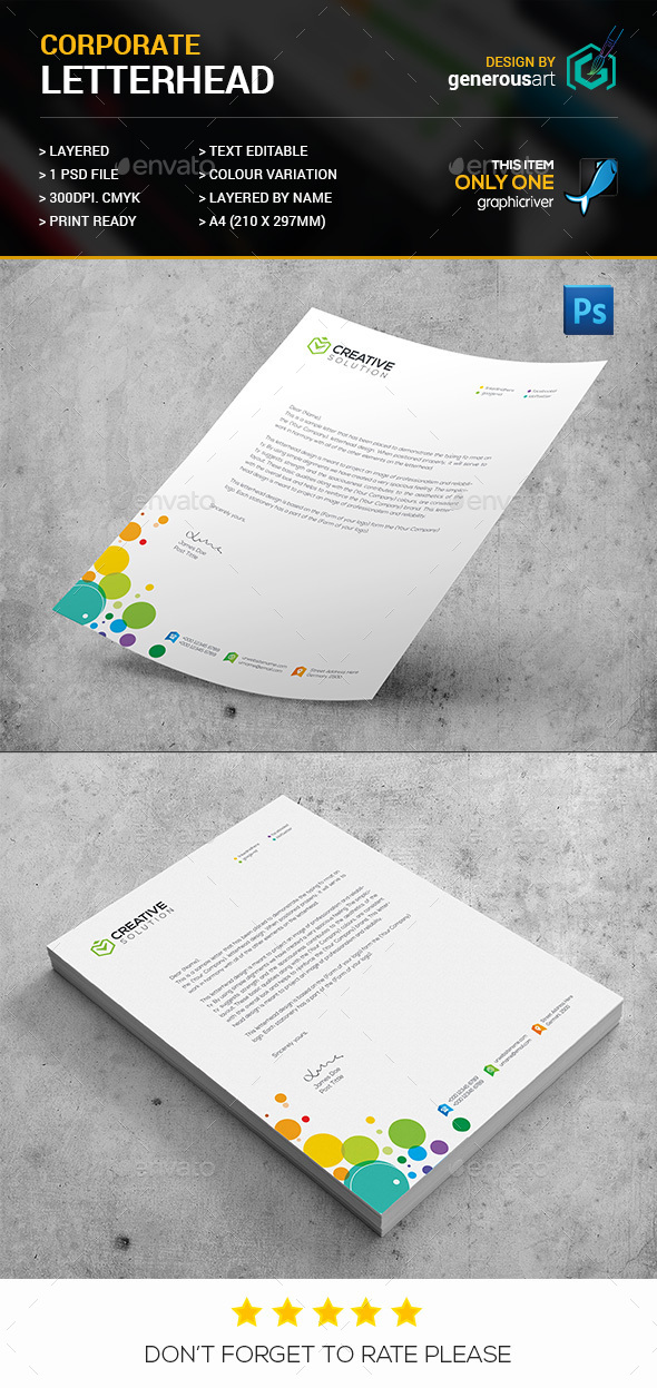 Colorful Corporate Letterhead - Stationery Print Templates