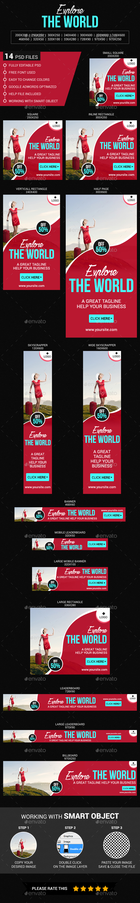Explore The World - Banners & Ads Web Elements