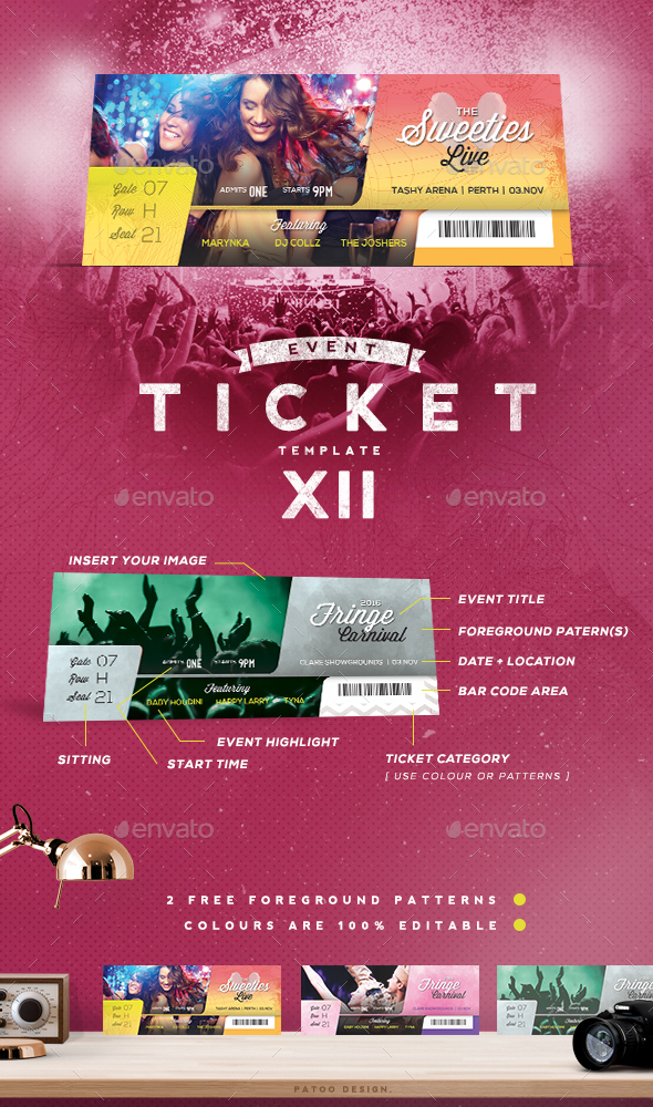 Event Tickets Template XII - Miscellaneous Print Templates