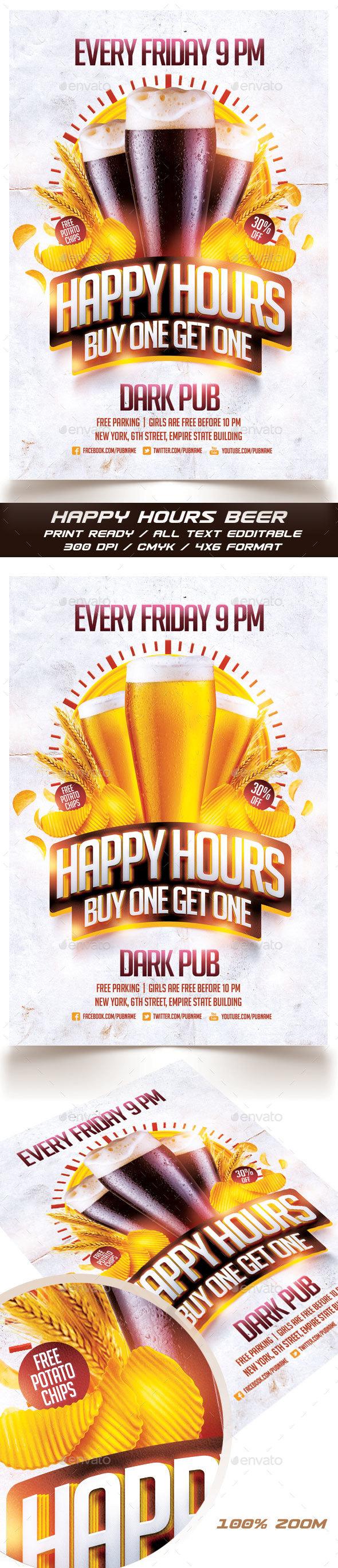 Beer Happy Hours Flyer - Events Flyers