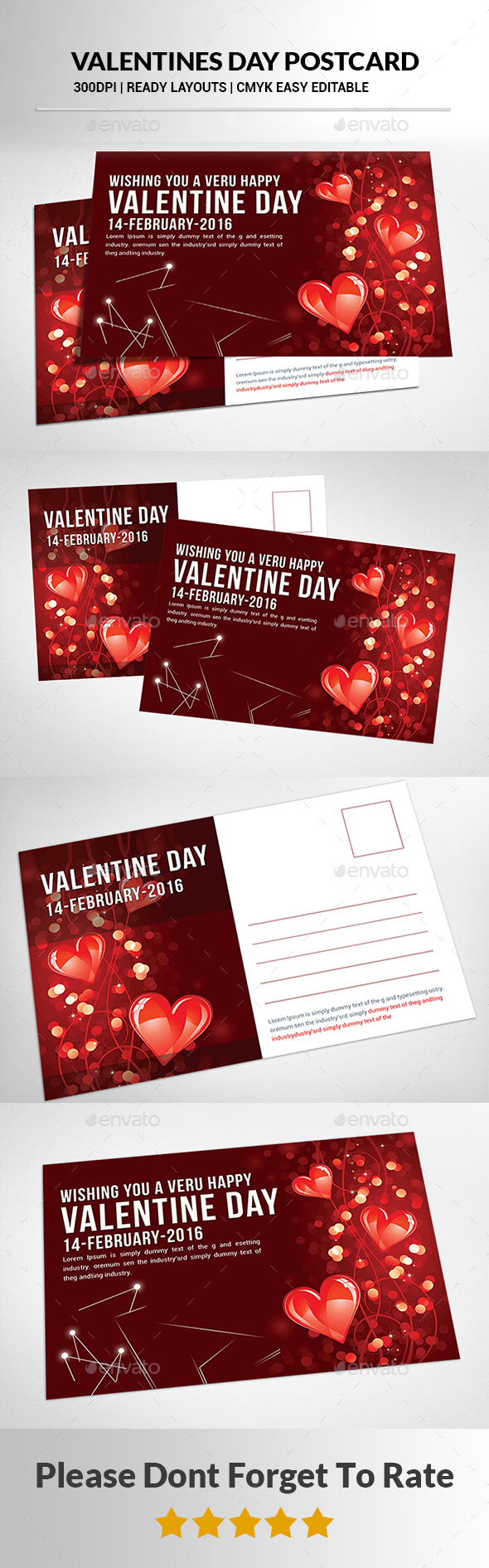 Valentines Day Postcard - Cards & Invites Print Templates