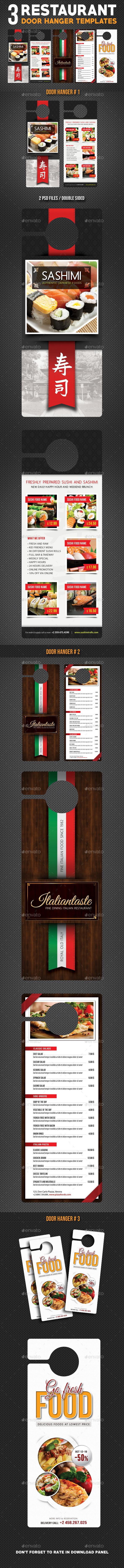 3 Restaurant Food Menu Door Hanger Bundle - Miscellaneous Print Templates