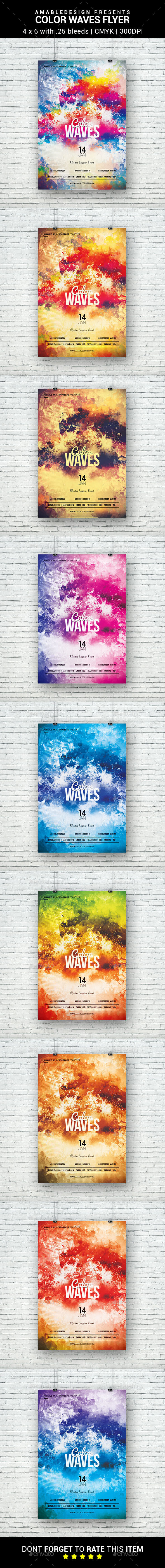 Color Waves Flyer - Clubs & Parties Events