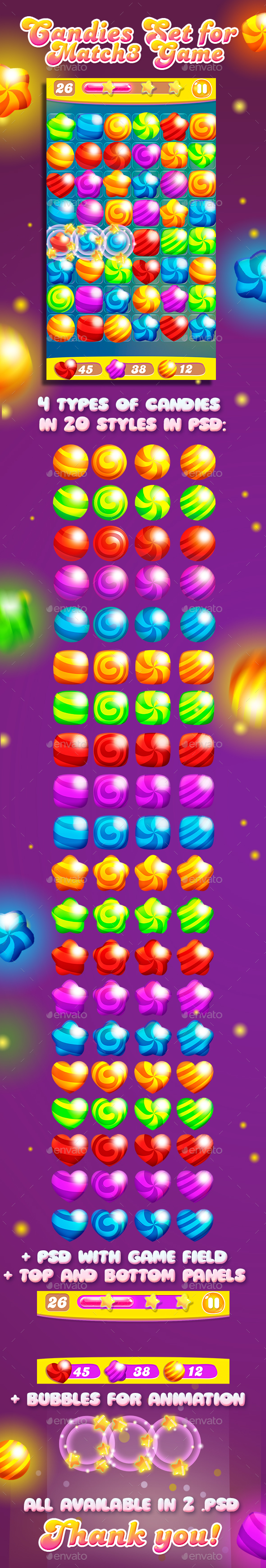 Big Match-3 Puzzle Game Gems Set - Game Kits Game Assets
