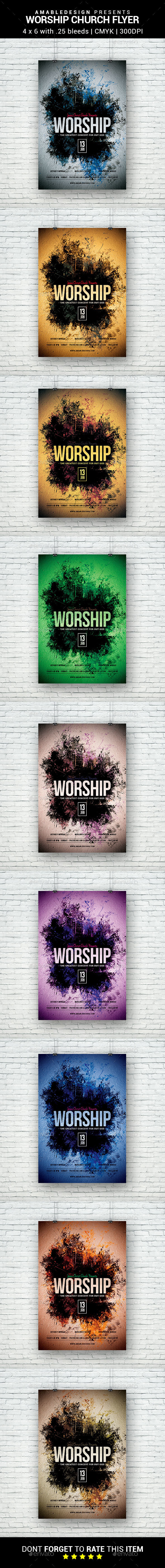 Worship Church Flyer - Church Flyers