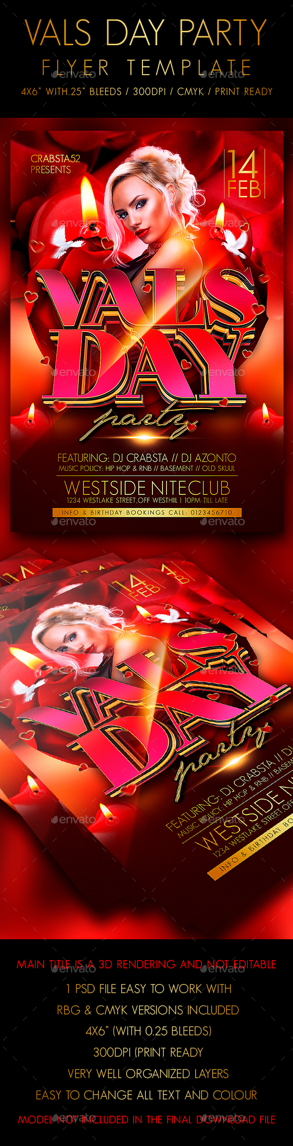 Vals Day Party Flyer Template  - Clubs & Parties Events