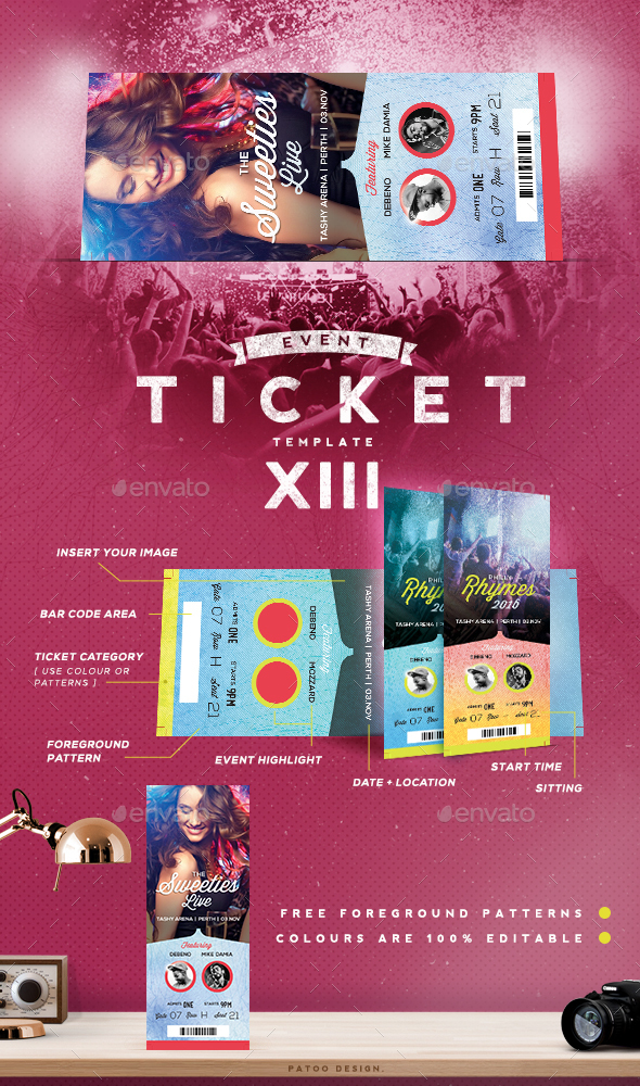 Event Tickets Template XIV - Miscellaneous Print Templates