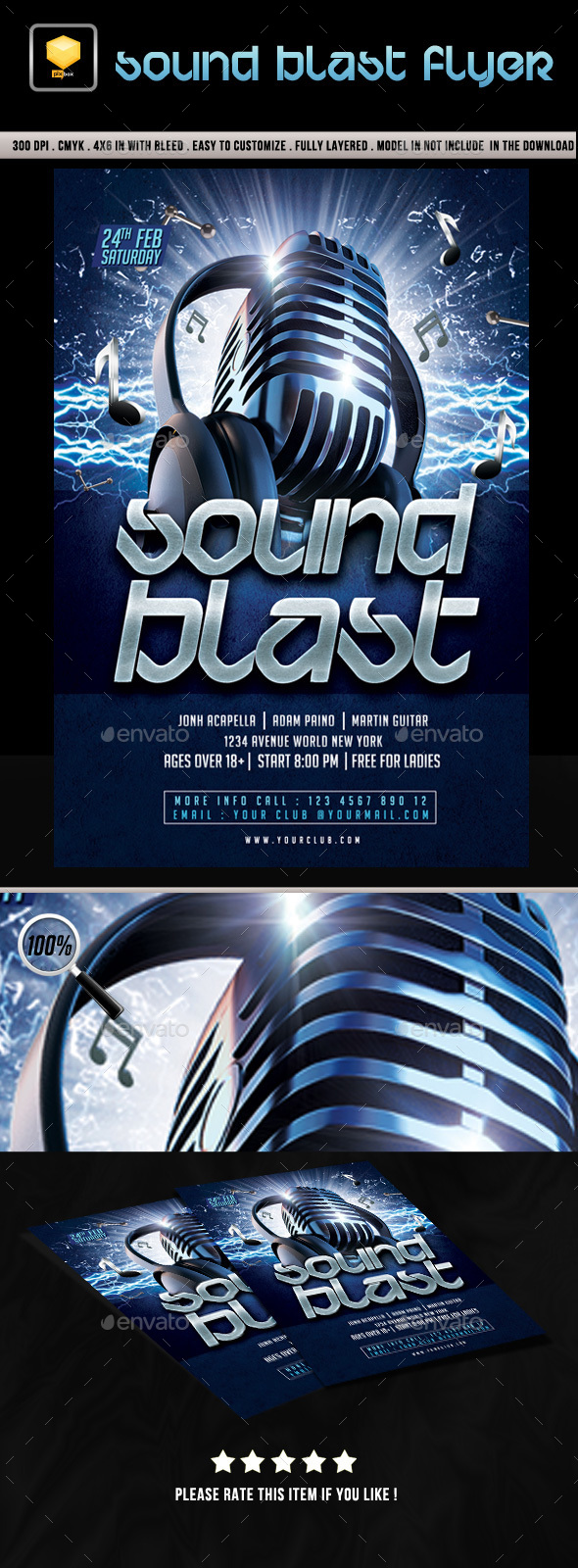 Sound Blast Music Event Flyer - Clubs & Parties Events