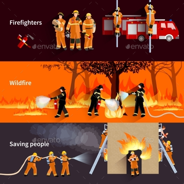 Horizontal Firefighter People Banners Set - People Characters