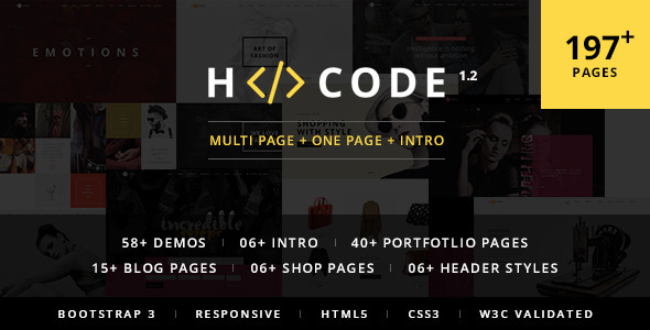 H-Code Multipurpose OnePage & Multi Page Template - Corporate Site Templates