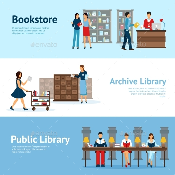 Library Horizontal Banners Set - Industries Business