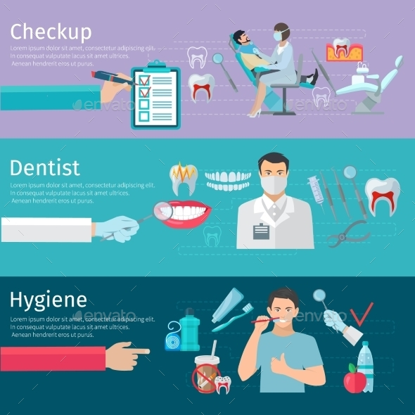 Teeth Care Horizontal Banners - Health/Medicine Conceptual