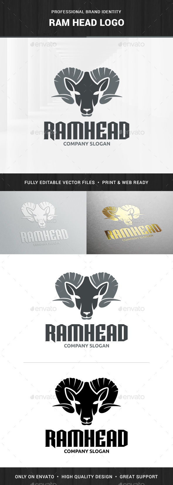 Ram Head Logo Template - Animals Logo Templates
