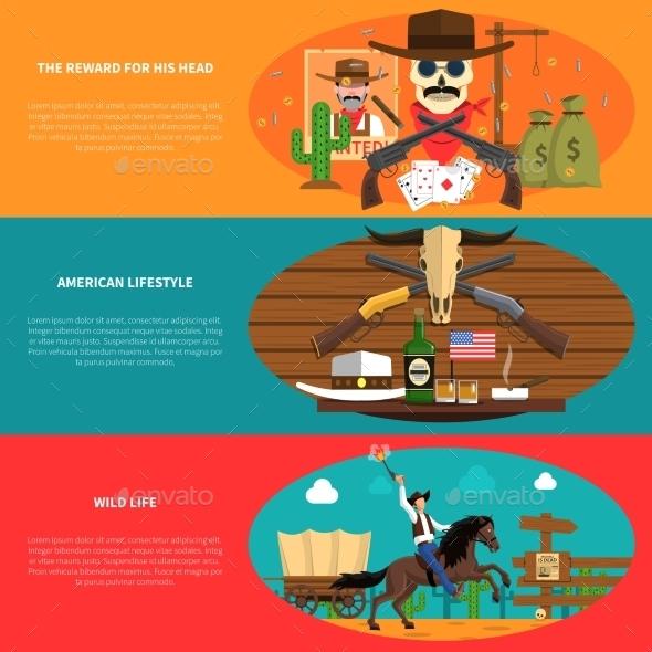 Cowboy Banner Set - Miscellaneous Vectors