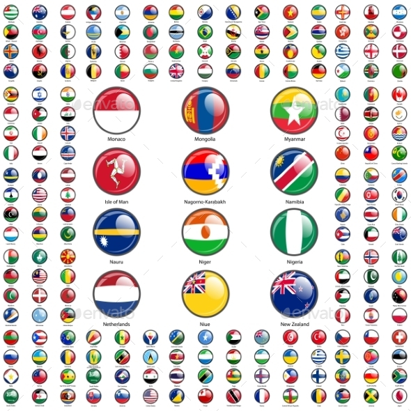Set Flags of World Sovereign States - Web Elements Vectors
