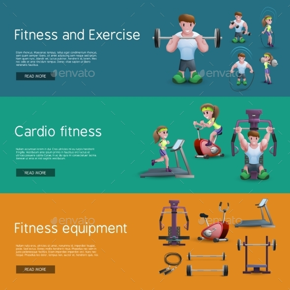 Set of Three Fitness Banners - Sports/Activity Conceptual