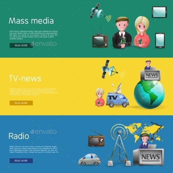 Horizontal Mass Media Bunners Set - Communications Technology