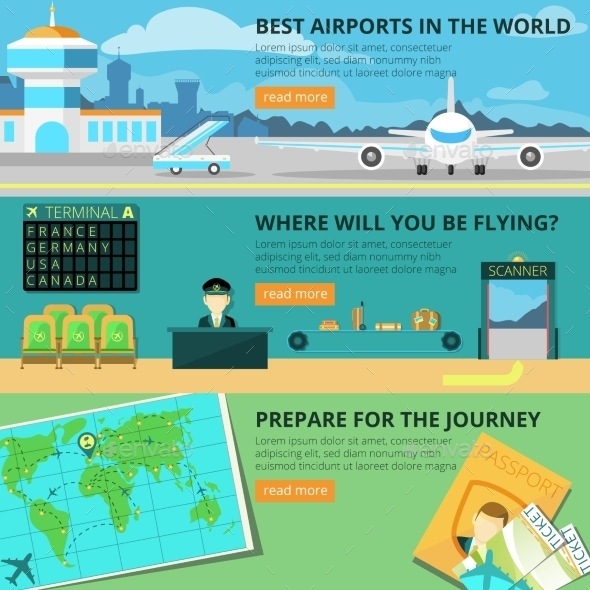Airport Banner Set - Travel Conceptual