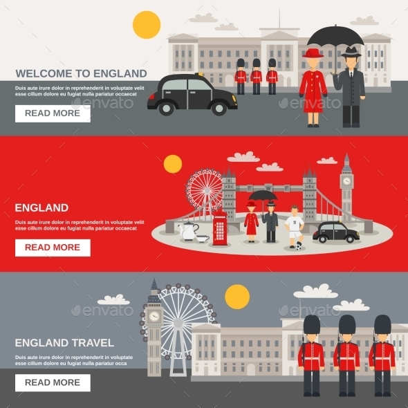 English Culture 3 Horizontal Banners Set  - Travel Conceptual