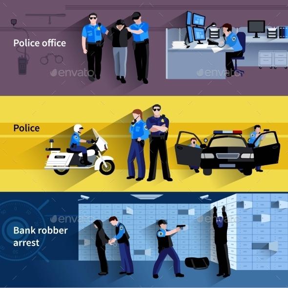 Policeman People Horizontal Banners - People Characters