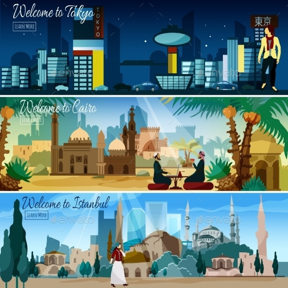 Eastern Cityscape 3 Flat Banners Set - Travel Conceptual