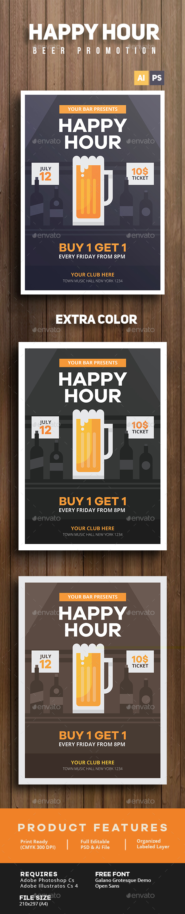Happy Hour Beer Promotion Flyer - Clubs & Parties Events