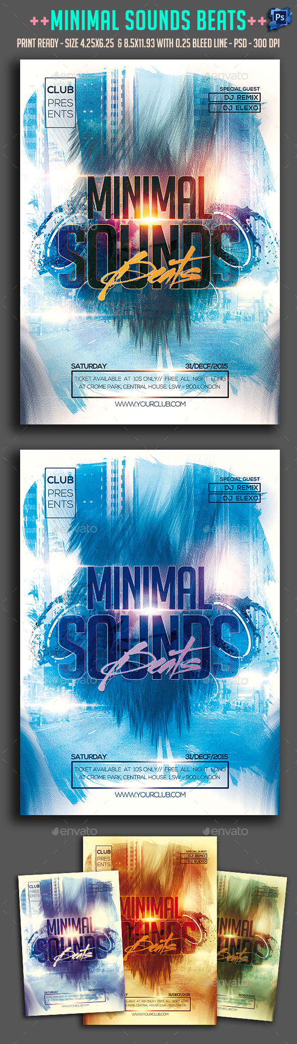 Minimal Sounds Beats Party Flyer  - Clubs & Parties Events