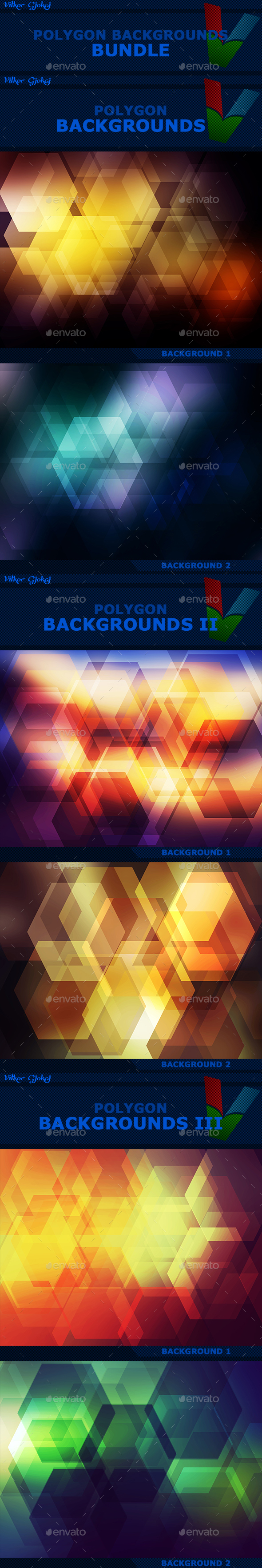 15 Polygon Backgrounds BUNDLE - Abstract Backgrounds