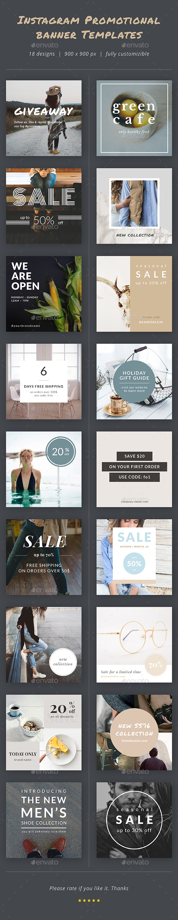 Instagram Promotional Banner Templates - Social Media Web Elements