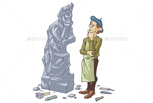 Sculptor and His Self Portrait - People Characters