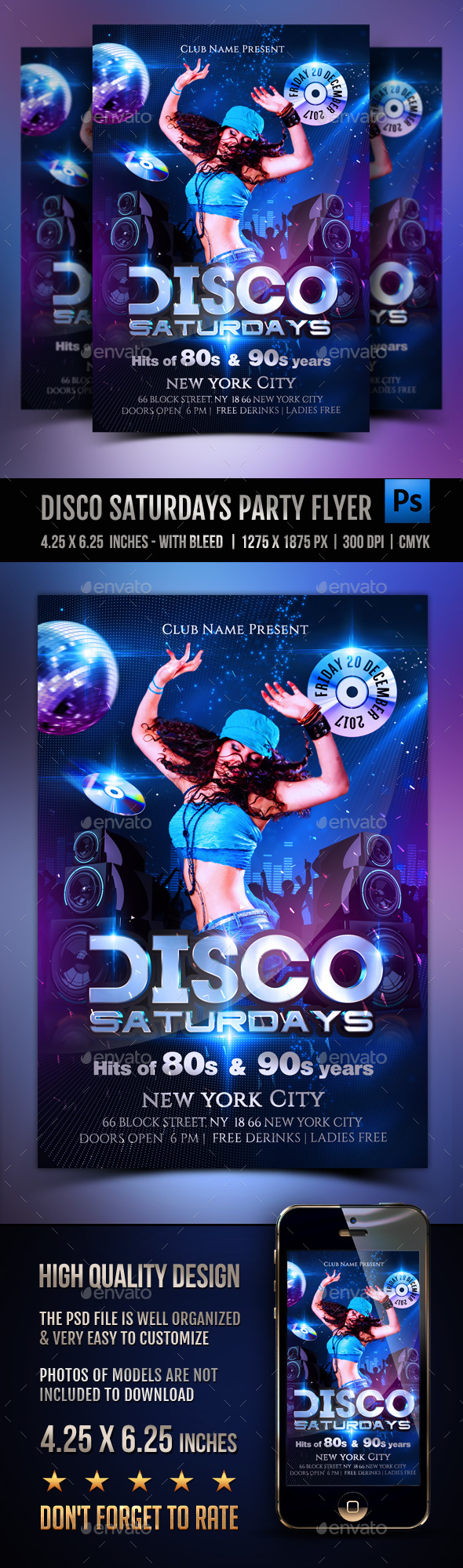 Disco Saturdays Party Flyer - Clubs & Parties Events