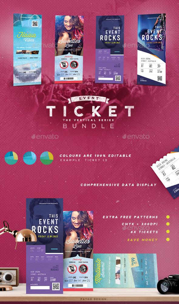 Event Tickets Bundle 4 - Miscellaneous Print Templates