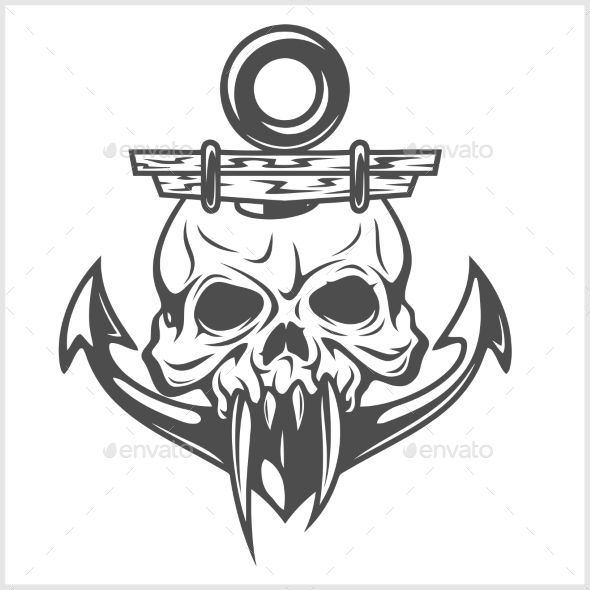 Anchor and Skull - Tattoos Vectors