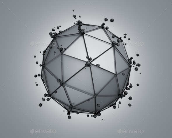 Low Poly Gray Sphere With Chaotic Structure. - Abstract Backgrounds