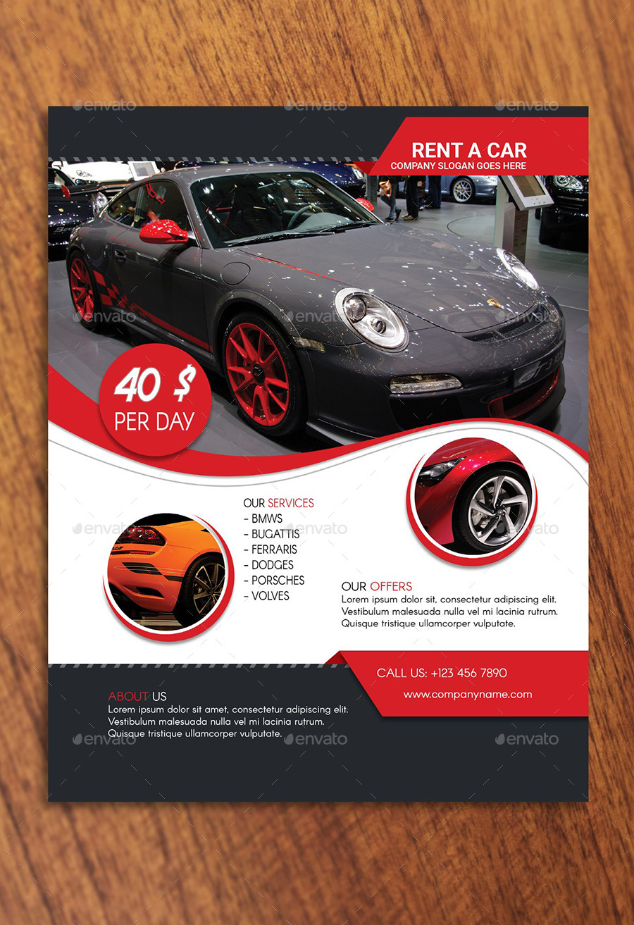 rent a car flyer template by creativemoon