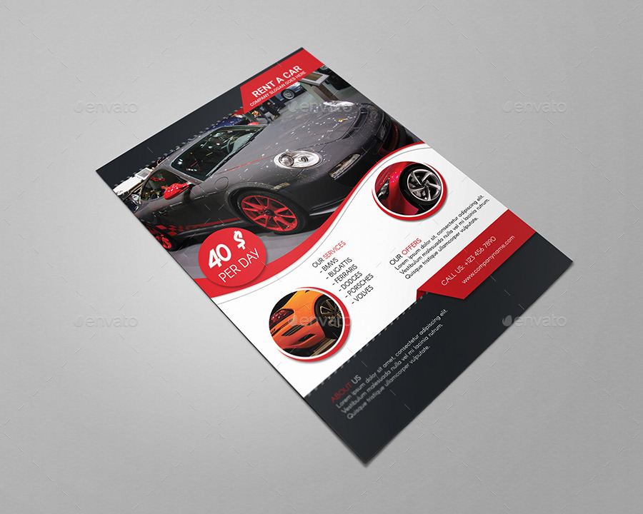 Rent A Car Flyer Template By Creativemoon Graphicriver