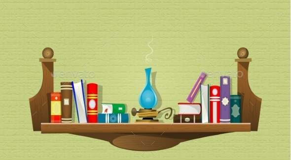 Card with Books on Bookshelves  - Miscellaneous Conceptual