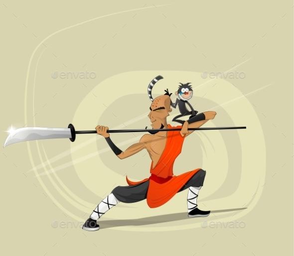 Shaolin Warrior Monk Illustration - New Year Seasons/Holidays