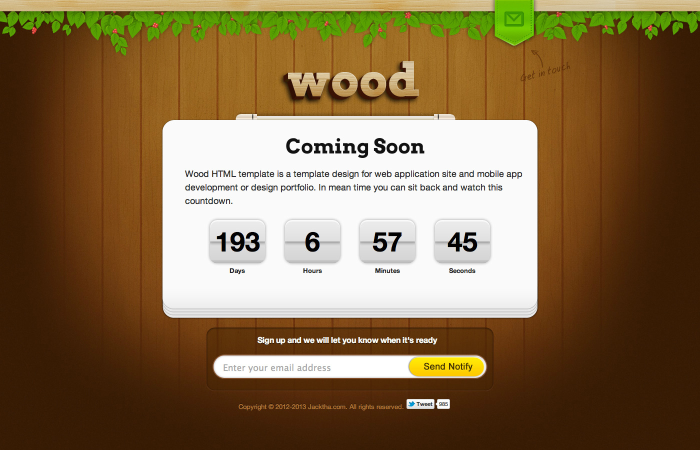 Wood coming soon template by layersky themeforest wood coming soon template pronofoot35fo Image collections