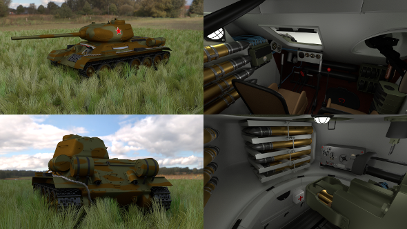 T-34-85 with Interior HDRI Camo - 3DOcean Item for Sale
