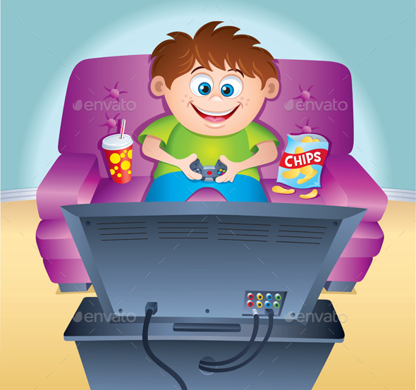 Kid Playing Video Game on a Couch - Media Technology